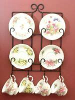 tea cup rackwall mount veritcal teacup rack black   cups  included  ebay