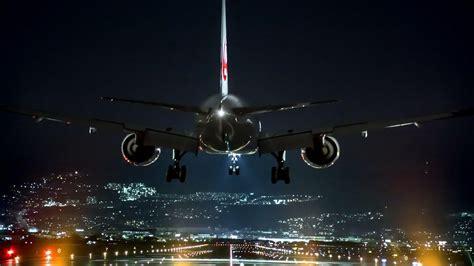 Airplane Landing At Night ️ 4k Ultrahd Wallpaper