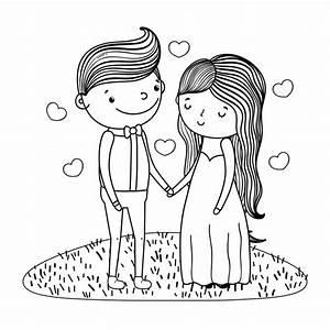 Dessin Couple Mariage Couleur : couple mariage mignon dessin anim en noir et blanc ~ Melissatoandfro.com Idées de Décoration