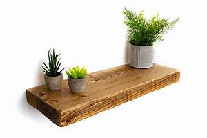 Rustic, Floating, Shelf, 22cm, Deep, 5cm, Thick, Handcrafted, Using, Solid, Wood
