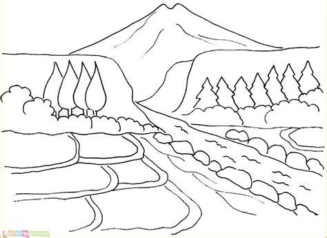 sketsa gambar pemandangan gunung harian nusantara