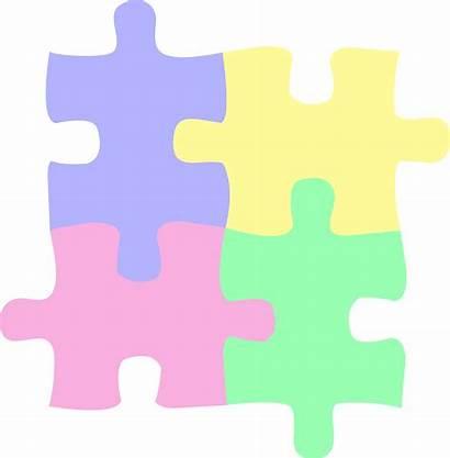 Puzzle Pastel Pieces Colored Clip Four Autism