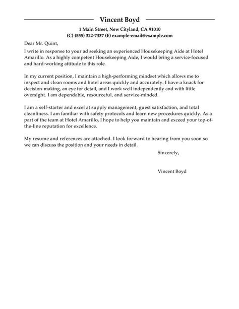 Cover Letter For Hotel Housekeeping Position by Best Housekeeping Aide Cover Letter Exles Livecareer