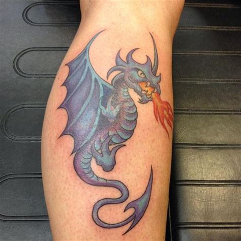 cool dragon tattoo  leg calf