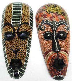 aboriginal masks wood carvings wall decor painted mask