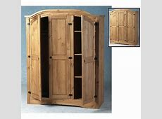 Corona 3 Door Wardrobe in Distressed Pine 3123 Furniture in