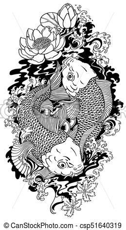 Two koi black and white tattoo. Two koi gold carp fishes