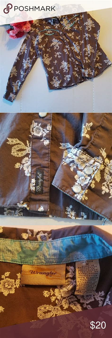 We offer fashion and quality at the best price in a more sustainable way. Wrangler Brown Floral Pearl Snap - Medium   Brown floral ...