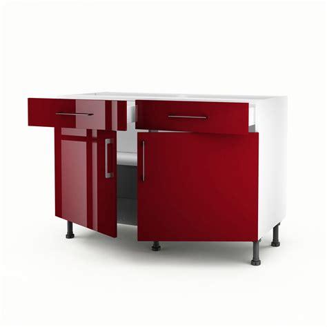 meuble bas de cuisine 120 cm meuble de cuisine bas 2 portes 2 tiroirs griotte h