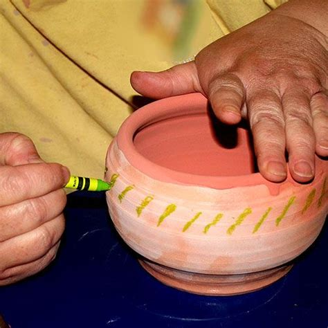 using crayons on pottery for wax resist