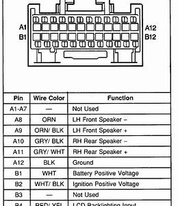 Carfusebox  Chevrolet Metro Radio Connector Pinout Diagram