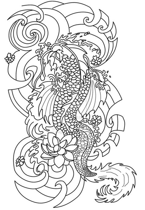 Art Therapy coloring page Tattoos : Japanese tattoo 8