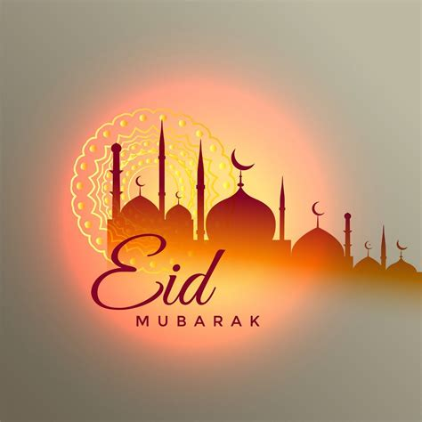 eid mubarak beautiful greeting design mosque happy eid