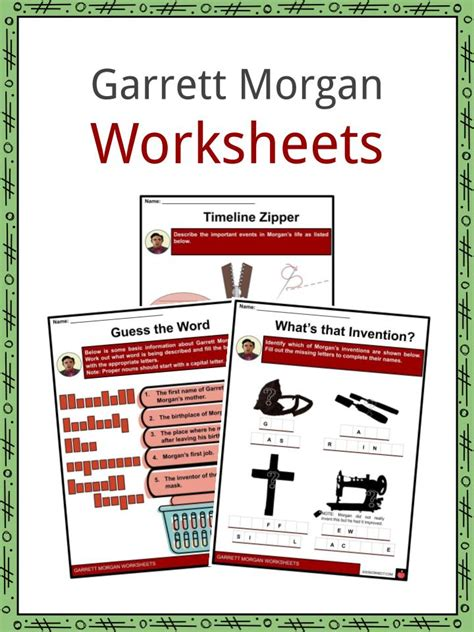 garrett morgan facts worksheets early years invention
