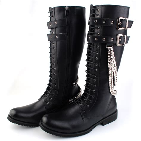 Fashion Men Punk Knight Male High Boots Rock Western