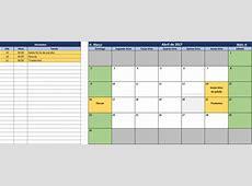 Calendário e Agenda de tarefas 2017 no Excel