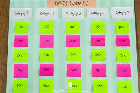 Trivia Game Board Template by Category Ideas For Diy Trivia Or Jeopardy Games The