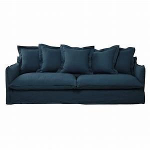canape 5 places en lin lave bleu canard barcelone With tapis de course avec canapé en lin lavé