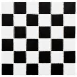 merola tile boreal checker black and white porcelain mosaic floor tile traditional