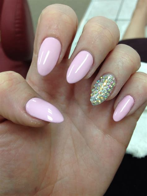 almond nails design white almond shaped nails with pink design studio