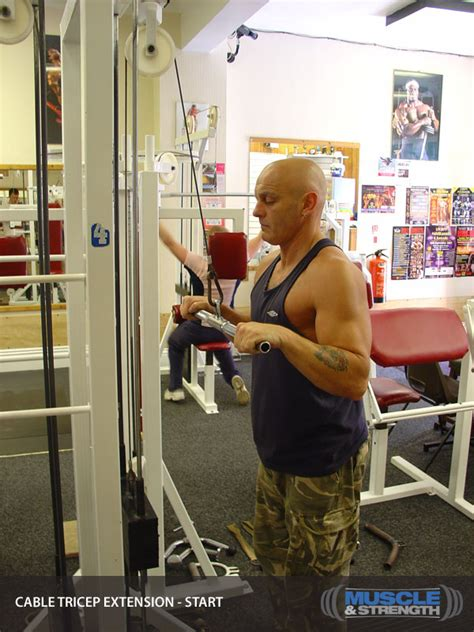 cable tricep extension video exercise guide tips