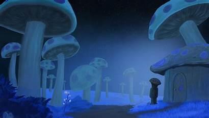 Terraria Glowing Mushrooms Steam Mushroom Card Artwork