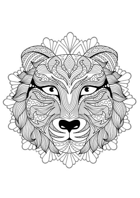 superb tiger head mandala mandalas  animals  mandalas zen anti stress