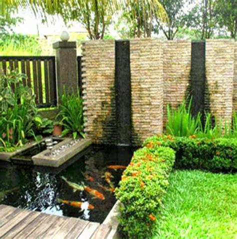 desain rumah gebyog dngan taman kolam gambar desain taman
