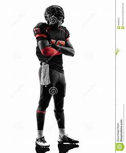 American Football Player Standing Arms Crossed Silhouette ...