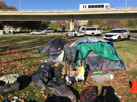 homeless encampment dc wtop parkway creek tenants there camp rock officials staying say they brewing standoff along between