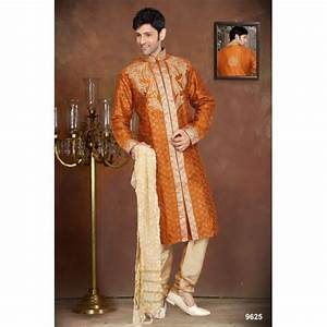 Tenue Indienne Homme : tenue indienne sherwani en orange fonc brod ~ Teatrodelosmanantiales.com Idées de Décoration