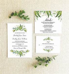 Greenery themed wedding invitations from etsy the budget for Etsy wedding invitations greenery