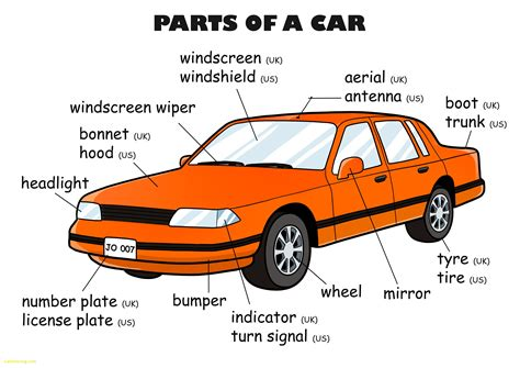 Car Parts Names Beautiful Kids Cars And Parts For Car