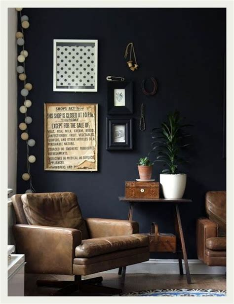 charcoal and brown living room an indian summer leather chairs and dark charcoal walls home city and country pinterest
