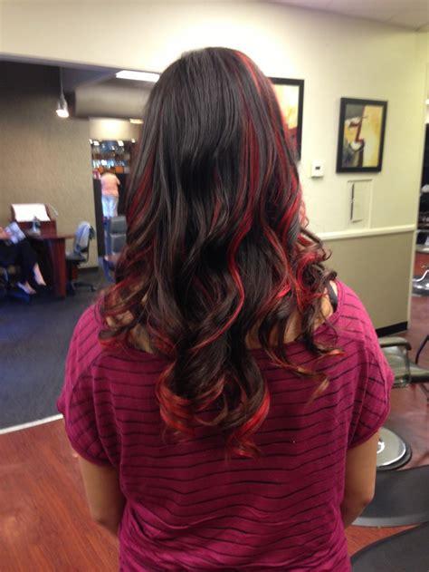Red Peekaboo Highlights Cosmetology Pinterest Colors