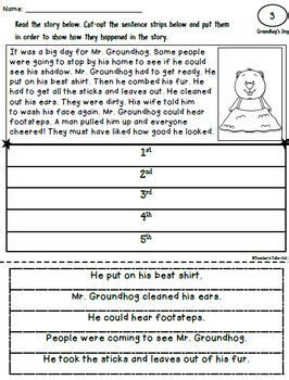free sequence cut and paste worksheet groundhog s day