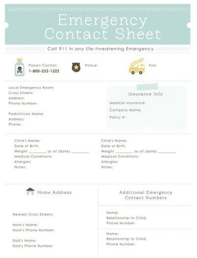 printable emergency plan templates babysitter