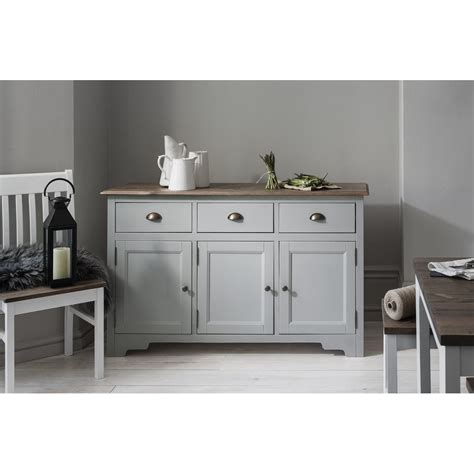 Cabinets Sideboards by Canterbury 3 Drawer Sideboard Cabinet In Silk Grey Noa
