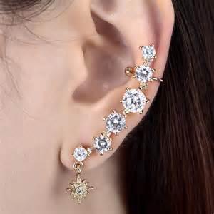 owl stud earrings gold silver plated cubic zirconia non pierced ear cuff