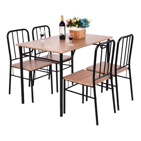 piece dining set table   chairs metal wood home