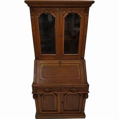 Victorian War Civil Secretary Desk Antique Walnut