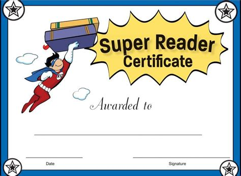 Super Reader Certificate For Boys! Reward Your Students