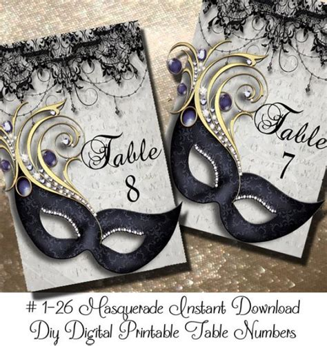instant  masquerde printable table numbers