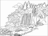 Waterfall Coloring Drawing Jungle Colouring Watery Printable National Getcolorings Looking Getdrawings Cliparting sketch template