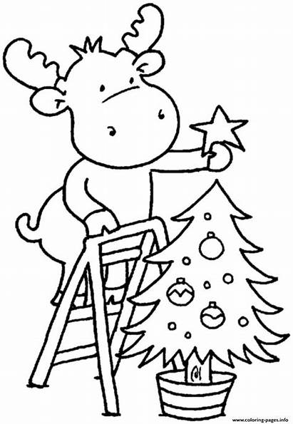 Coloring Tree Children Christmas Pages Printable