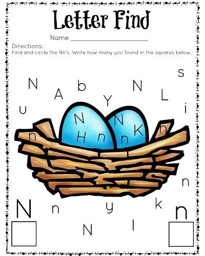 free letter find n color worksheet preschool crafts