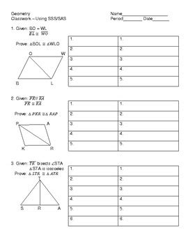 proving triangles congruent using sss sas worksheet by tallud