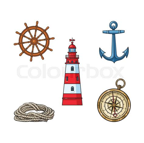 set  nautical objects lighthouse anchor compass