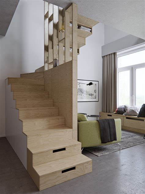 living room small and wooden staircases brick wall design 4 small apartment designs 50 square meters
