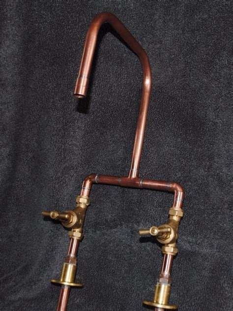 handmade bespoke copper kitchen mixer tap industrial
